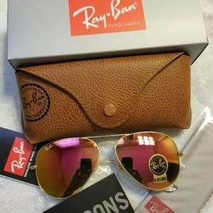 Ray Ban Aviator Sunglasses Pink Barbie 58mm NEW